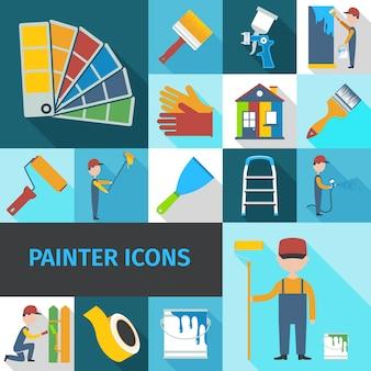 Painter icons set flat shadow