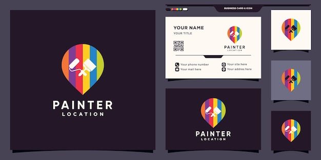 Painter logo design template with pin point location and business card design