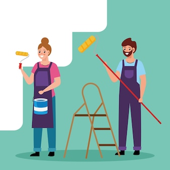 Painter man and woman with roll and bucket