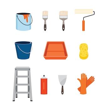 Инструменты художника, набор иконок объектов оборудования