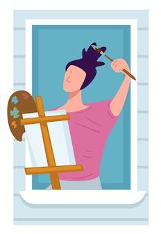 집에서 페인트와 이젤 그림을 그리는 화가. 예술에 대해 생각하고 걸작 작업을 하는 여성 캐릭터. 검역 중 집에 머물고 있는 예술가, 창가에 있는 재능 있는 사람. 평면 스타일의 벡터