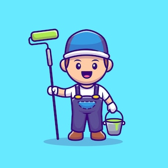 Painter with roll brush and bucket paint cartoon vector icon illustration. people profession icon concept isolated premium vector. flat cartoon style