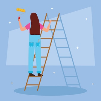 Painter woman with roll and bucket on ladder