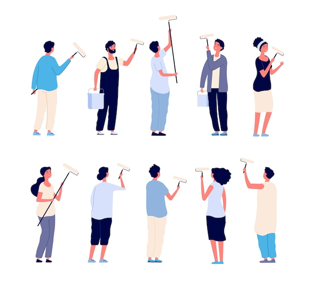 Painters. men and women painter holding paint rollers and painting home wall. cartoon isolated characters. paint worker, painter person renovation illustration