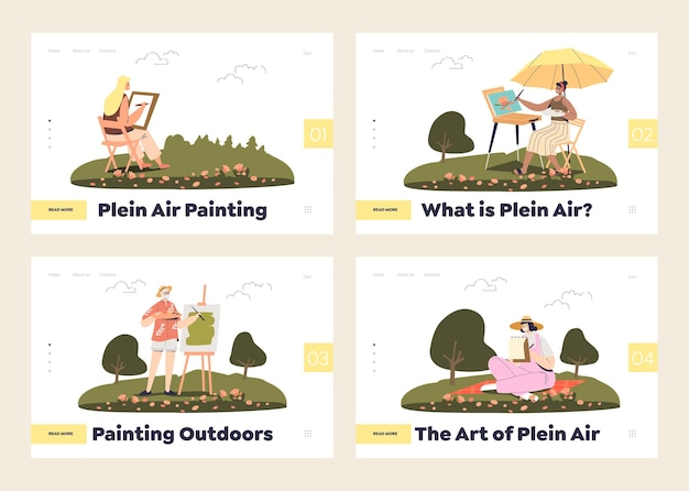 Painters and plain art concept of landing pages set with people painting outdoors