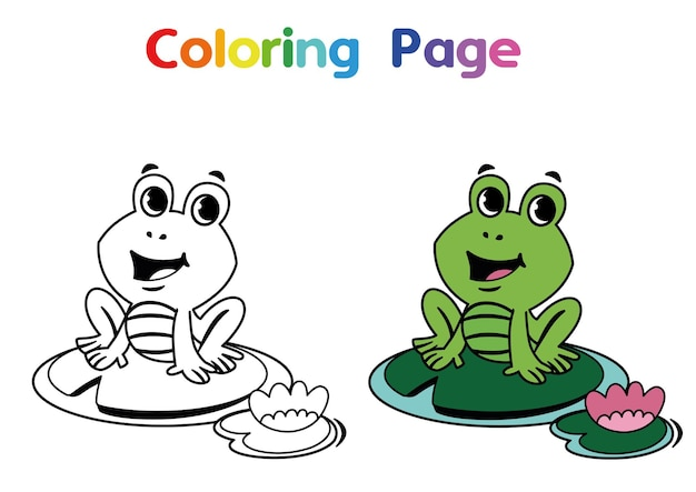 Painting activity for children cute frog character vector illustration