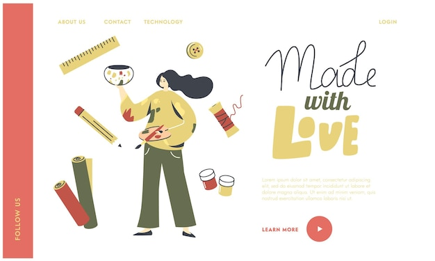 Painting activity, creativity landing page template.