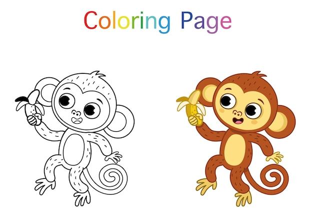 かわいい漫画の猿と子供のための絵画活動ベクトルイラスト