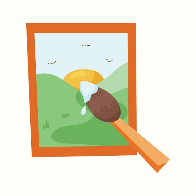 Painting, art. brush. vector illustration in flat style