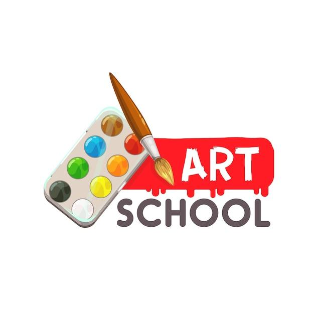 Painting art school, artist watercolor paint brush