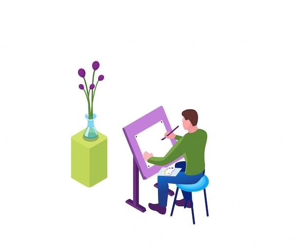 Рисуя дома, человек рисует на мольберте натюрморт
