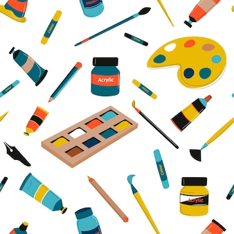 Painting and drawing brushes and tools instruments