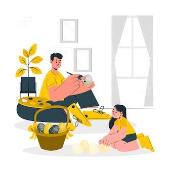 Illustrazione di concetto delle uova di pasqua della pittura