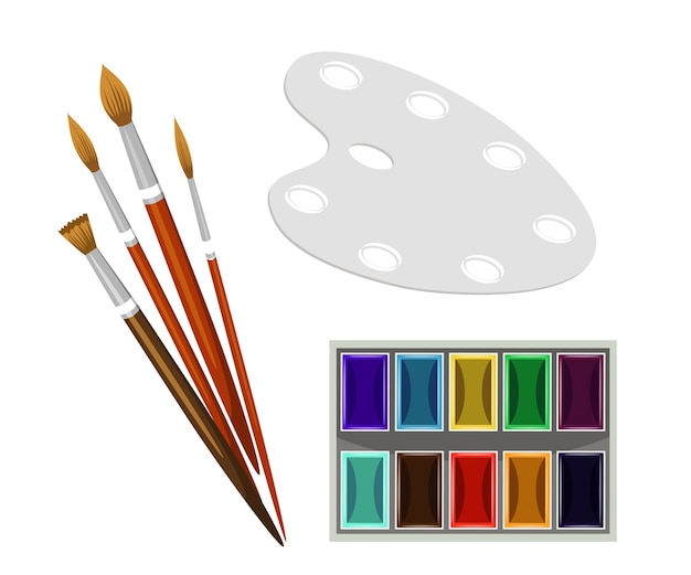 Painting equipment palette paintbrushes and watercolour paints