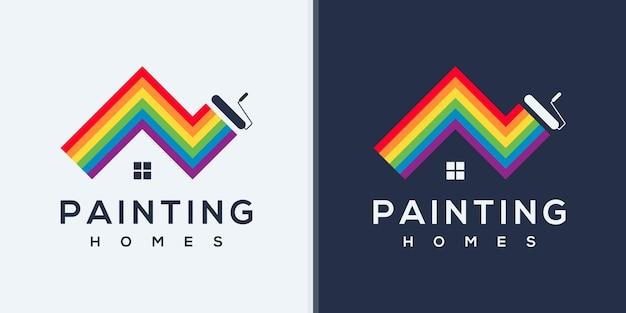Рисование дизайна логотипа с концепцией дома, вдохновением для логотипа цвета радуги