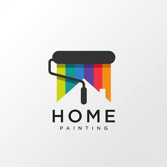 Painting logo design with home concept rainbow color,