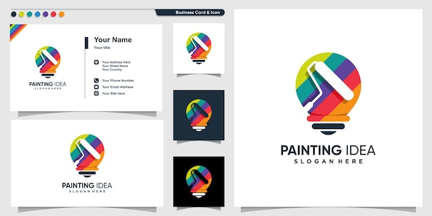 Painting logo with creative idea style and business card design template