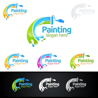 Painting logo with paint brush and colorful circle concept