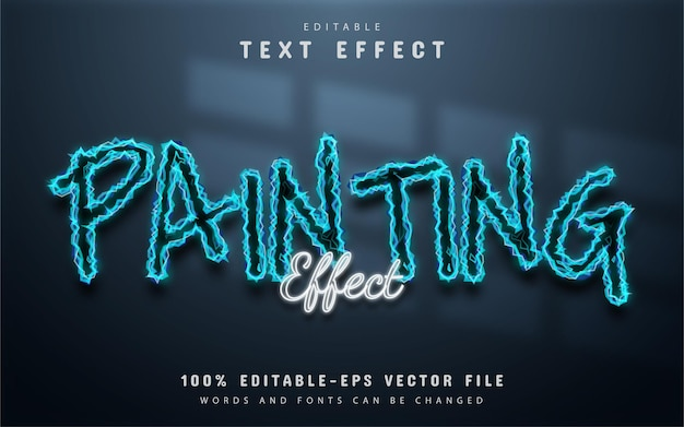 Painting text effect neon style