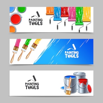 Painting tools banners set
