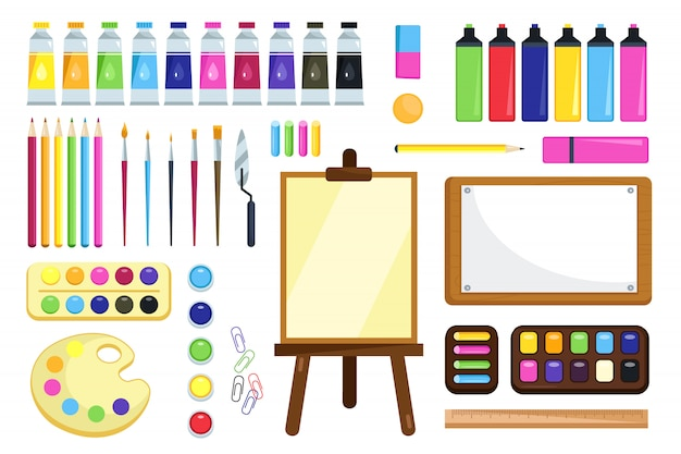 Инструменты рисования. креативные материалы для мастерской