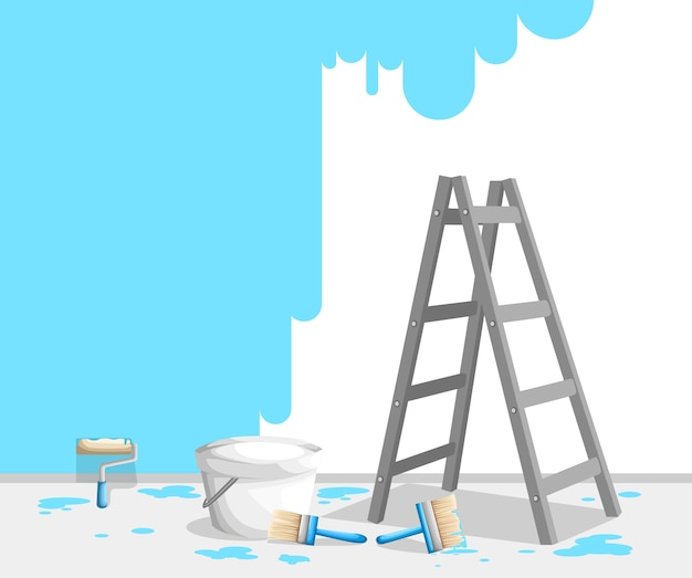 페인트 롤, 브러시 및 사다리로 벽을 페인팅합니다. 양동이에 밝은 파란색 페인트. 화가 직업 개념. 삽화. 웹 사이트 페이지 및 모바일 앱