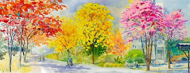 가 시즌 벡터 일러스트 레이 션에 빨간색 분홍색 노란색 나무 길가의 그림 수채화 풍경