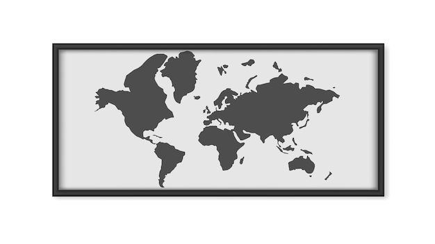 Картина с картой мира, изолированной на белом фоне. картина в черных рамах. план карты. .