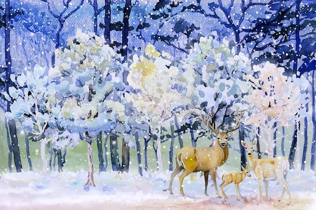 그림 눈은 사슴 가족 벡터 일러스트 레이 션의 숲 겨울 수채화 풍경에 빠진다