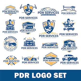 Paintless dent repair logo set, pdr service logo pack,  collection