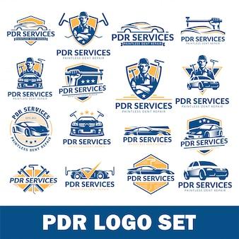 Paintless dent repairロゴセット、pdrサービスロゴパック、コレクション
