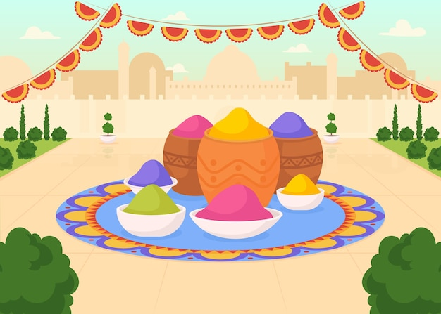 ホーリー祭のフラットカラーイラスト用塗料。カラフルな粉のバケツがある公共の都会の広場。宗教的な儀式。染料の缶。背景に風景とインドの2d漫画の街並み