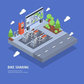 Pair of bikes parked at docking station on city street, payment terminal, stand with map, trees and road