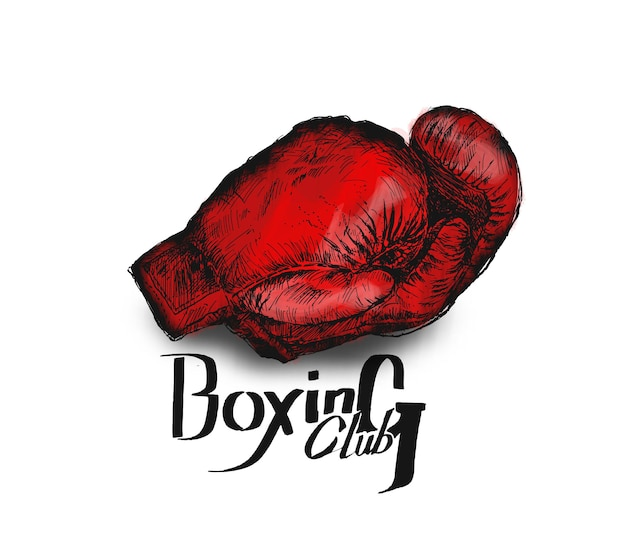 Pair of boxing gloves hand drawn sketch vector illustration