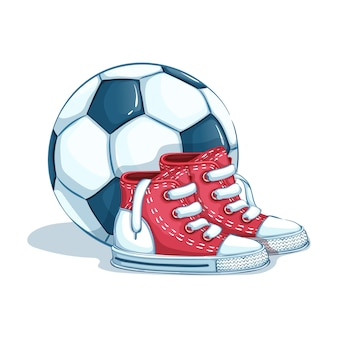 A pair of children's sports shoes and a soccer ball. back to school. sports accessories. isolate. Premium Vector