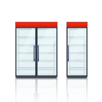 Pair commercial fridges with red boards
