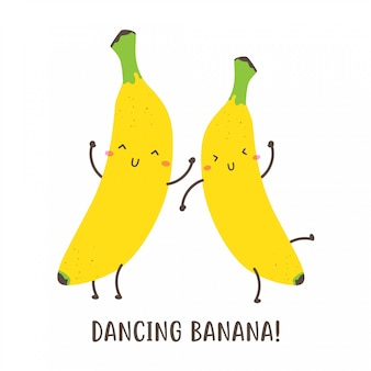 Pair of cute happy dancing banana vector design