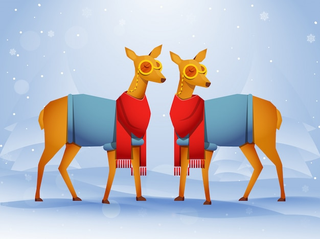 Pair of deer character wearing winter clothes