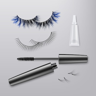 Pair false eyelashes with bundles, thicker lashes with blue part.