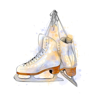 Pair of figure ice skates from a splash of watercolor, hand drawn sketch.  illustration of paints
