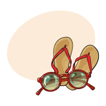 Pair of flip flops and fashionable round sunglasses, beach vacation