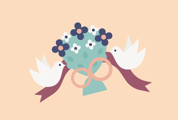 Pair of flying doves or birds carrying elegant bridal bouquet or bunch of flowers decorated by rings and ribbon