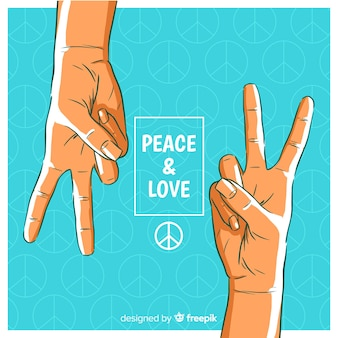 Pair of hands hand peace sign background