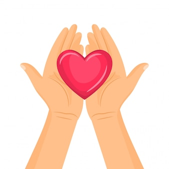 A pair of hands holding a heart