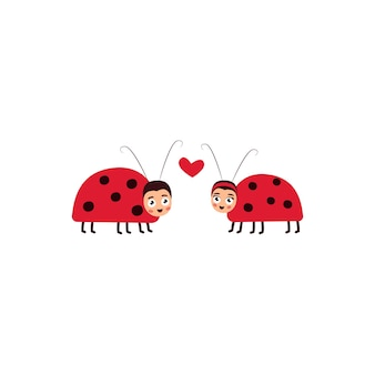 A pair of ladybugs in love