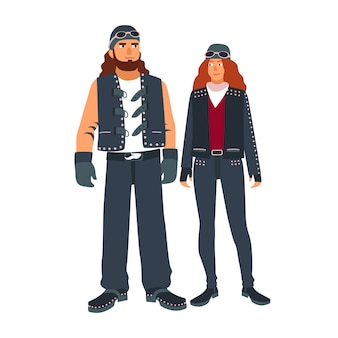 Pair of man and woman bikers dressed in black leather motorcycling clothes isolated on white space