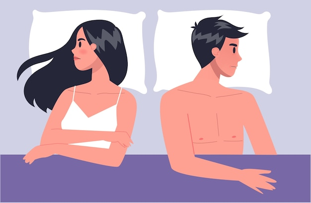 Pair of man and woman lying turned away in bed. concept of sexual or intimate problem between romantic partners. sexual disfunction, and behavior misunderstanding.