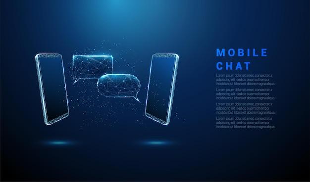 Пара абстрактных телефонов с пузырями чата посланник низкополигональная каркасная векторная иллюстрация