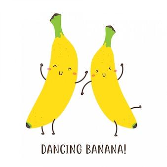 귀여운 행복 춤 바나나 벡터 디자인의 쌍