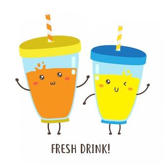 짚 벡터 디자인 유리에 귀여운 행복 신선한 음료의 쌍